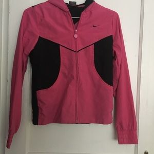 Pink and black nike rain jacket